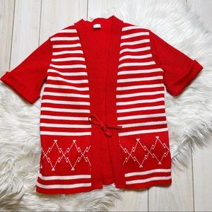 Vintage Red White Striped '70s Groovy Top MOD